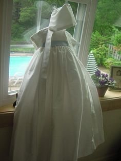 Cape May Christening Gown w/Blue and Cap by by DbinkieOriginals, $150.00
