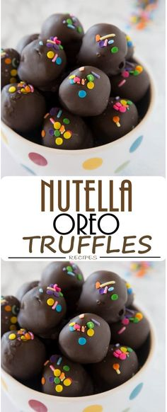 Nutella Oreo Truffles - classic Oreo truffles made even better by adding Nutella! Dipped in chocolate or rolled in sprinkles for an easy chocolate treat. Brownie Desserts, Oreo Dessert, Oreo Cake, Healthy Cookie Recipes, Oatmeal Cookie Recipes, Peanut Butter Cookie Recipe, Sugar Cookies Recipe, Dessert Recipes, Oreo Truffles Recipe