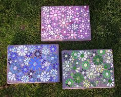 There are many, many examples of handmade stepping stones at this website.