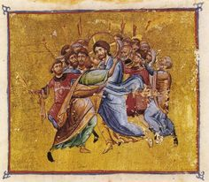 Holy and Great Friday. Judas's kiss. Byzantine book miniature.