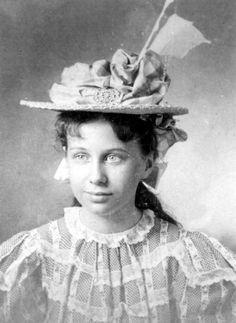 Bess Truman, age 13, in elaborate straw hat