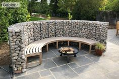 Gabion Basket Curved Wall How To curved-gabion-seating-wall Gabion Wall Design, Fence Design, Patio Design, Garden Design, Exterior Wall Design, Curved Patio, Curved Walls, Backyard Patio, Backyard Landscaping