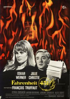 Fahrenheit 451 by Francois Truffaut, starring Oskar Werner and Julie Christie.  German  movie poster of the first-release 1966