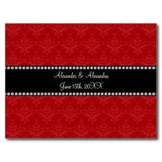 Wedding favors red damask postcard
