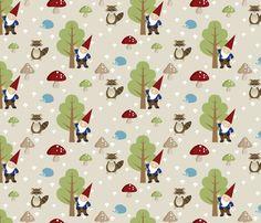 Woodland Friends - Red fabric by inktreepress on Spoonflower - custom fabric