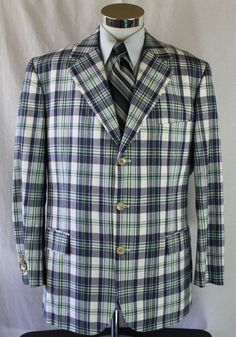Brooks Brothers Blazer Sport Coat Madison 1818 Plaid Dual Vent 46 R 100% Cotton #BrooksBrothers #TwoButton