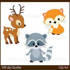 WOODLAND ANIMALS 20 piece clip art set in by LittlePumpkinsPix: