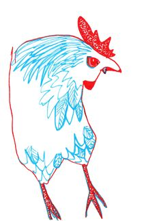 Evil vampire hen. Posca pens on paper. By Karen Lotz