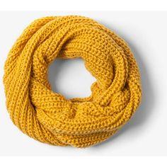 Mustard Knit Scarf, Knit Infinity Scarf, Mustard Scarf, Knit Scarves,... (275 EGP) ❤ liked on Polyvore featuring accessories, scarves, infinity loop scarves, infinity scarves, circle scarves, tube scarf and loop scarves