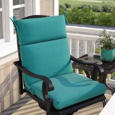 Three Posts Indoor/Outdoor Lounge Chair Cushion Size: Hx W x D, Fabric: Aqua Blue Outdoor Rocking Chair Cushions, Adirondack Chair Cushions, Custom Outdoor Cushions, Outdoor Dining Chair Cushions, Patio Seating, Wrought Iron Patio Chairs, Leather Dining Room Chairs, Dining Chairs, Indoor Outdoor