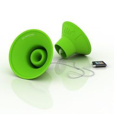Coolest. Gadget. Ever. Tembo Trunks - portable silicone speakers that hook up to your earbuds and play your tunes at three times their volume. Share your music without swapping wax for just $30 today on Fab.com. Great idea! http://fab.com/hxagky