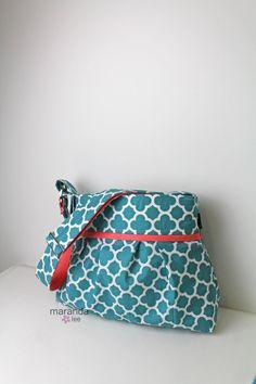 READY to SHIP Stella Diaper Bag Medium Teal by marandalee on Etsy