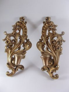 Wood Candle Sconce Pair Vintage Wall Mount Gilt by acornabbey