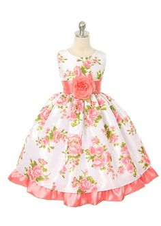 Coral Floral Print Taffeta Girl Dress