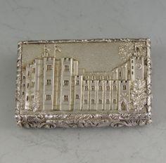 Victorian collectible Castle-Top silver vinaigrette depicting the Houses of Parliament | Gervase Wheeler & Co, Birmingham, 1839 | Steppes Hill Farm Antiques | http://www.steppeshillfarmantiques.com/blog/range-of-fine-silver-castle-top-vinaigrettes-and-card-cases-available-from-steppes-hill-farm-antiques-2399