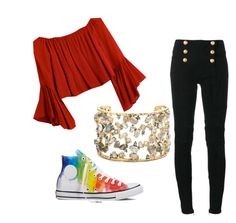 """""""Falll"""" by smile-all-day4 ❤ liked on Polyvore featuring Balmain, Converse and Alexis Bittar"""