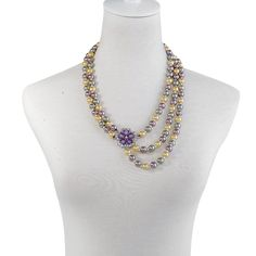 Purple, Yellow and Gray Glass Pearl, Glass, Austrian Crystal Multi Strand Necklace (22 in) in Silvertone