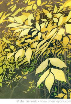 """""""Falling,"""" reduction linocut by Sherrie York. Image size 7"""" x 5,"""" edition of 15, hand printed on Hosho paper."""