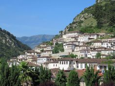 """White Ottoman houses have given Berat, Albania, its popular name, the """"City of a Thousand Windows"""". White Ottoman, Albania, Southern, Houses, Windows, Popular, Mansions, House Styles, City"""