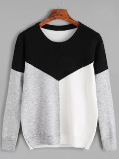 643946a241 Shop Color Black Round Neck Jersey Sweater online. SheIn offers Color Black  Round Neck Jersey