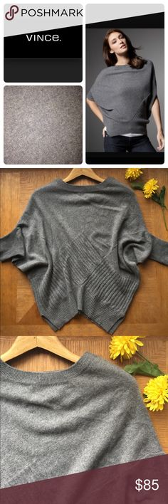 Vince 100% Cashmere Checkerboard Sweater Vince Checkerboard gray sweater.  Dolman sleeves add a women's touch to this menswear checkered pattern sweater.  Ribbed cuffs and waistband.  100% cashmere.  So soft and luxurious.  In excellent condition. Vince Sweaters