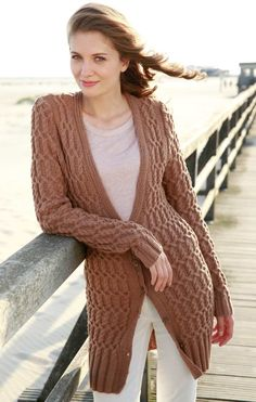 35fabfc6aeeecd Free Knitting Pattern for a Long All Over Cable Cardigan