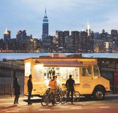 pbs-food: Beautiful NYC skyline behind the Van Leeuwen Artisan Food Truck (Photo Credit: Martin Adolfsson)