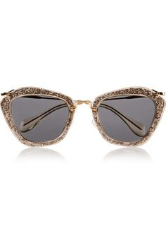 Love the Miu Miu Cat-eye glittered acetate and metal sunglasses on Wantering.