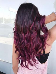 Are you looking for blonde balayage hair color For Fall and Summer? See our collection full of blonde balayage hair color For Fall and Summer and get inspired! Purple Burgundy Hair, Hair Color Purple, Hair Dye Colors, Cool Hair Color, Burgundy Balayage, Burgendy Ombre, Burgundy Color, Brown Hair With Purple, Dark Purple