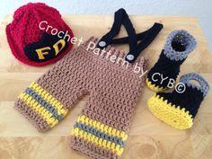 CROCHET PATTERN, Newborn Size, Baby Firefighter Fireman Hat, Pants, Suspenders & Boots