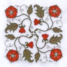 Jacobean Embroidery Designs | Jacobean Red Flower Square embroidery design