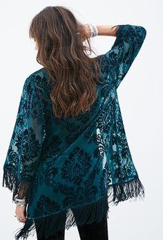 <3 damask...Velveteen Damask Pattern Kimono | Forever 21 - 2000138685