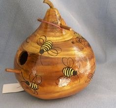 Image detail for -Hand Painted Bird House Gourd Bee Hive by HouseOfGourds on Etsy Decorative Gourds, Hand Painted Gourds, Gourds Birdhouse, Bird House Gourds, Birdhouses, Crafts To Make, Arts And Crafts, Bird Houses Diy, Doll Houses