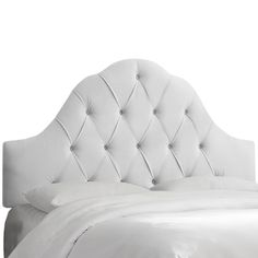 Made to Order White Tufted Velvet Arched Headboard