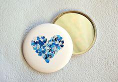 Blue heart pocket mirror by VeraPaperLab on Etsy, €6.00