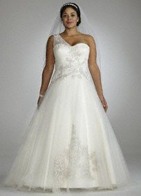 Enchanting and elegant, this one shoulder ball gown is the epitome of sheer romance.   Sweetheart neckline is accented with on-trend embellished one shoulder detail.  Ornate beaded lace appliques adorn the bodice and skirt to add eye-catching appeal.  Tulle ball gown skirt gives this style volume and drama.  Chapel train. Available in stores in Ivory.