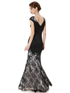 lace overlay, Evening Gown in 3 Colours