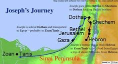 Joseph's journey from Dothan to Egypt.
