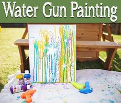 If you are looking for a fun yet inexpensive art project, this one is perfect! This water gun painting project is a blast and a nice change of pace from regular painting. Mix the paint with a little water and slowly pour the paint/water mixture into the gun. Use painters tape to make the desired design on the canvas, then go outside and go to town on it! Lay the canvas horizontally and wait for the paint to dry before taking the tape off.