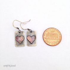 Silver earrings, handcut copper heart, antiqued sterling silver jewelry, handmade rectangular metal earrings, industrial minimalist earrings on Etsy, $35.00