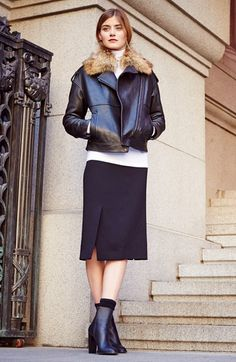 Free shipping and returns on Vince Leather Jacket & Straight Crepe Skirt at Nordstrom.com.