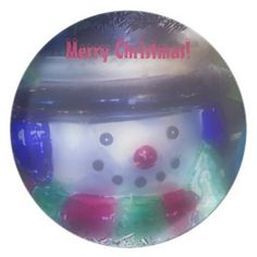A Frosty Snowman Plate by Florals by Fred #zazzle #photogift #gift #Christmas