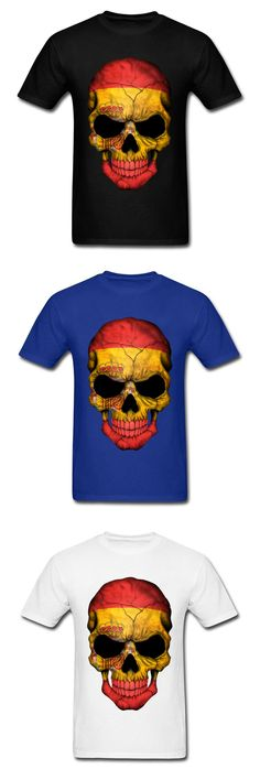 XXXL 2018 Men T-shirts Spanish Flag Skull Print Cool Family Halloween Customized Clothing Short Sleeve Tops & Tees