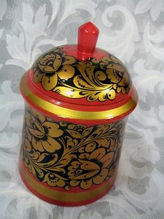 Sold Поставок Hand-painted khokhloma Wooden Trinket Candy Bowl w/ Lid USSR