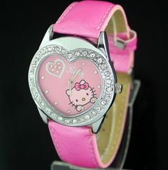 HELLO KITTY Heart Crystal Stone Watch