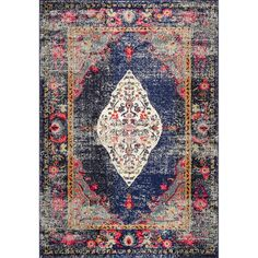 nuLOOM Traditional Fading Oriental Medallion Navy Rug (9' x 12')