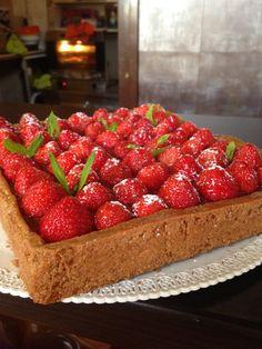 tarte speculoos, gelatina albicocche,ganache cioccolato, fragole