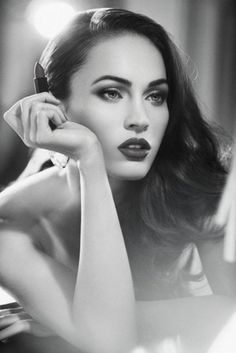 red lips  side swept hair for a taste of old glamour  megan fox