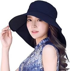Siggi Womens Summer Beach Cotton Sun Hats with Neck Flap Cap Chin Cord SPF 50+ Navy. For product & price info go to:  https://all4hiking.com/products/siggi-womens-summer-beach-cotton-sun-hats-with-neck-flap-cap-chin-cord-spf-50-navy/