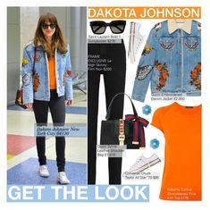 """Dakota Johnson"" by nindi-wijaya ❤ liked on Polyvore featuring Frame, Roberto Collina, Gucci, Yves Saint Laurent, Converse and Helen Ringus"